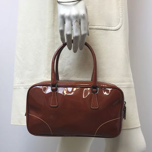 PRADA Patent Leather Brown Small Bag
